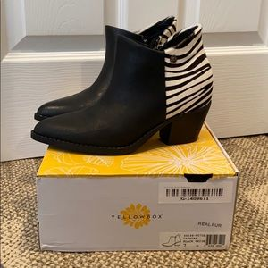Yellow Box Black leather and Zebrah print booties